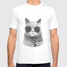 cool cat Mens Fitted Tee MEDIUM White