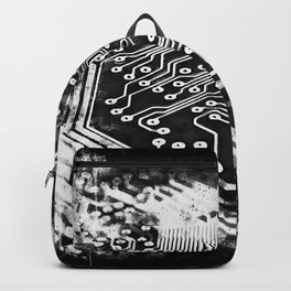 platine board conductor tracks splatter watercolor black white Backpack