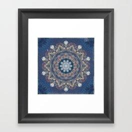 Blue's Golden Mandala Framed Art Print
