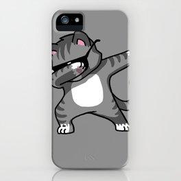 Dabbing Cat Grey iPhone Case