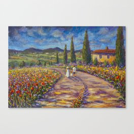 "Tuscany Painting on Canvas 37.8"" Landscape Painting Italy Country Art Impressionist Painting Tuscan Canvas Print"