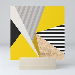 Nordic Colour Block Mustard Grey Black Triangle Geometric Pattern Mini Art Print