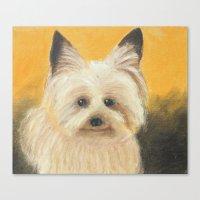 terrier Canvas Prints featuring Terrier by jeannefischer