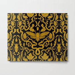 Cicada Oak Damask Metal Print