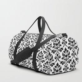Feuille Damask Pattern Black on White Duffle Bag