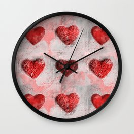 Heart Love Red Mixed Media Pattern Gift Wall Clock