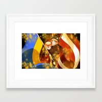 hetalia Framed Art Prints featuring Hetalia Latvia & Ukraine by Amymone Montoya