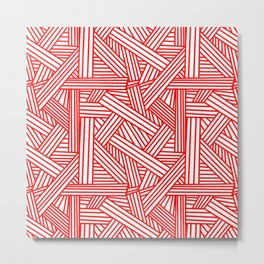 Sketchy Abstract (Red & White Pattern) Metal Print