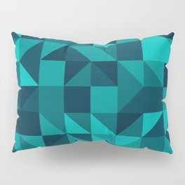 The bottom of the ocean - Random triangle pattern in shades of blue and turquoise  Pillow Sham