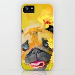 Pug in Daisies iPhone Case