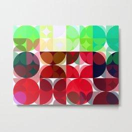 Mixed color Poinsettias 3 Abstract Circles 3 Metal Print