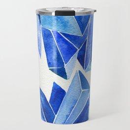 Sapphire Watercolor Facets Travel Mug