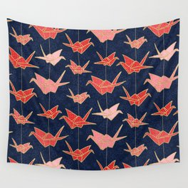 Red origami cranes on navy blue Wall Tapestry