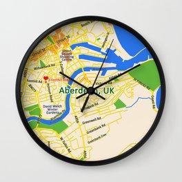 Map of Aberdeen, UK Wall Clock