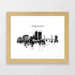 Black and White Jacksonville City Skyline Framed Art Print