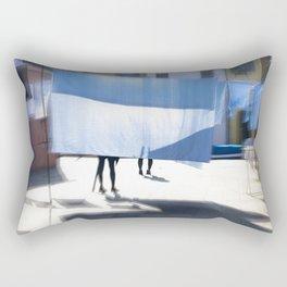 Blue bedsheet on the city street Rectangular Pillow