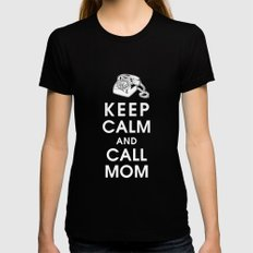 Keep Calm and Call Mom Black Womens Fitted Tee LARGE