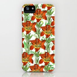Vintage orange yellow green lily floral pattern iPhone Case