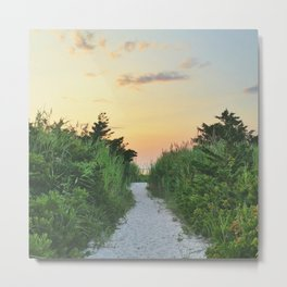 beach path sunset Metal Print