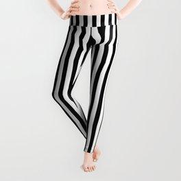 Vertical Stripes Black & White Leggings
