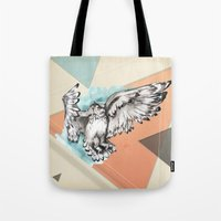 mcfly Tote Bags featuring Owl McFly by carographic by carographic watercolor portraits