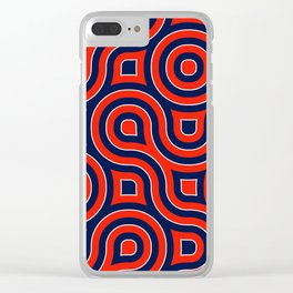Red Deep blue spirale Clear iPhone Case