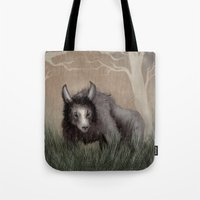 beastie boys Tote Bags featuring Forest Beastie by Mr Patch
