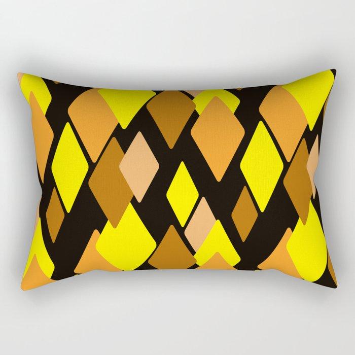 Black and yellow abstract pattern. Diamonds . Rectangular Pillow