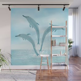 Jumping Dolphins Wall Mural
