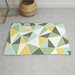 Geometric Pattern, Green, Aqua, Yellow Rug