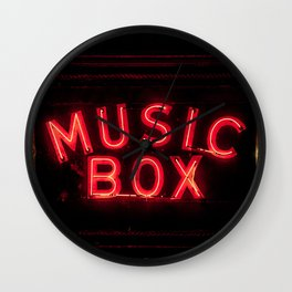 The Music Box Neon Sign Chicago Illinois Arthouse Theatre Vintage Cinema Movie House Theater Wall Clock
