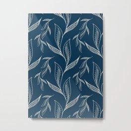 Indigo Foliage Metal Print