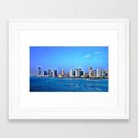 new york skyline Framed Art Prints featuring New York  Skyline   by Judy Palkimas