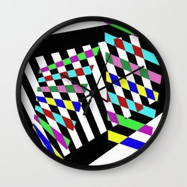 Lost Dimension - Abstract 3D style, multicoloured, geometric artwork Wall Clock