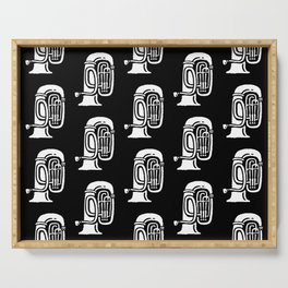 Tuba Pattern Black and White Serving Tray