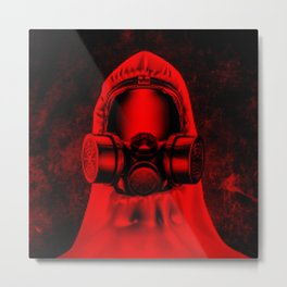Toxic environment RED / Halftone hazmat dude Metal Print
