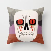 fear Throw Pillows featuring Fear by Jack Teagle