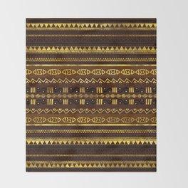 Ethnic African Golden Pattern on brown Throw Blanket