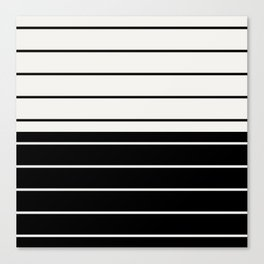 Two Tone Stripes - Black and White Canvas Print