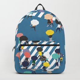Crossing The Street On a Rainy Day - Blue Backpack