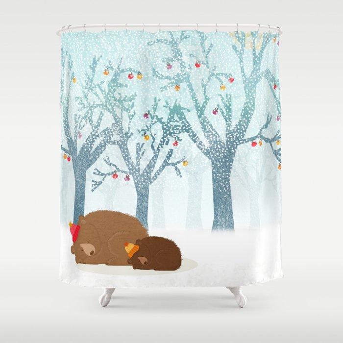 Sleeping winter Shower Curtain by kakel   Society6