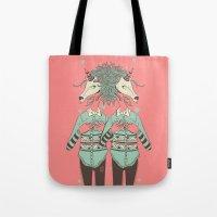 boob Tote Bags featuring unicorn boob by Yna Crez