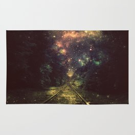 Train Tracks Next Stop Anywhere Dark Rug