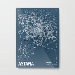 Astana Blueprint Street Map, Astana Colour Map Prints Metal Print