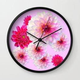 FUCHSIA CERISE-WHITE DAHLIA FLOWERS GARDEN ART Wall Clock