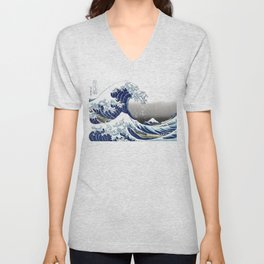 The Great Waves by Hokusai Unisex V-Neck
