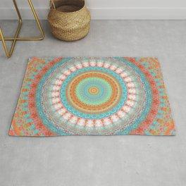 Turquoise Coral Mandala Design Rug