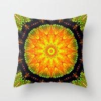 Citrus Slice Kaleidoscope Throw Pillow