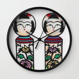Kokeshi girls Wall Clock