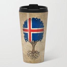 Vintage Tree of Life with Flag of Iceland Travel Mug